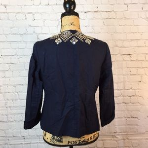 Chico's Jackets & Coats - Chico's navy stud and crystal embellished jacket